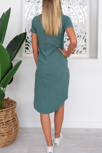 Casual High Quality Knotted Crew Neck Dress