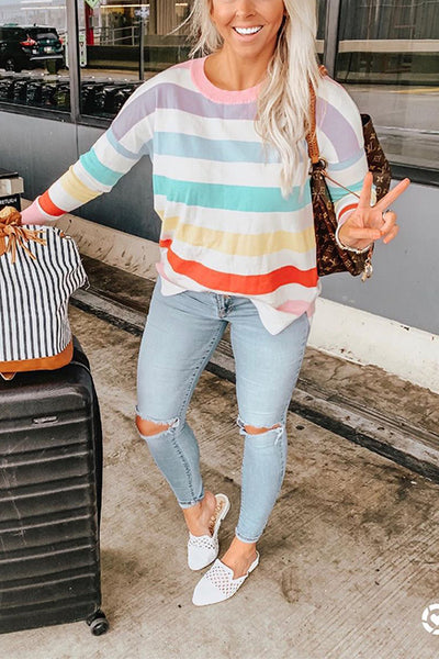 VOKJJ Rainbow Colorblock Striped Long-sleeved T-shirt - Hellosuitlady