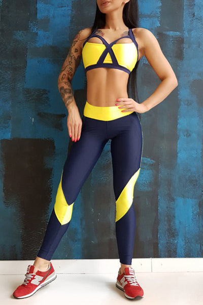 Yellow New Yoga Sports Shoulder Strap Chest Pad Vest Pants Suit
