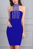 Night Club Sexy Dress with Shoulder Clasp and Hip