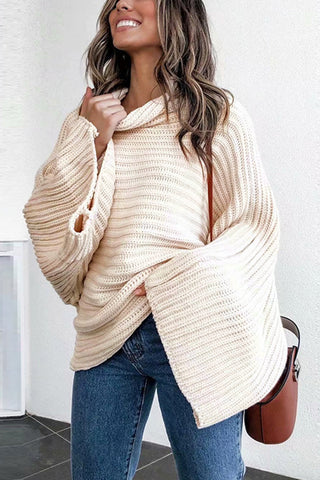 VOKJJ Turtleneck Pullover Flare Sleeve Drop Shoulder Sweater - Hellosuitlady