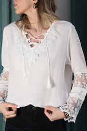 VOKJJ V-neck Flared Sleeve Lace-Paneled Chiffon Shirt - Hellosuitlady