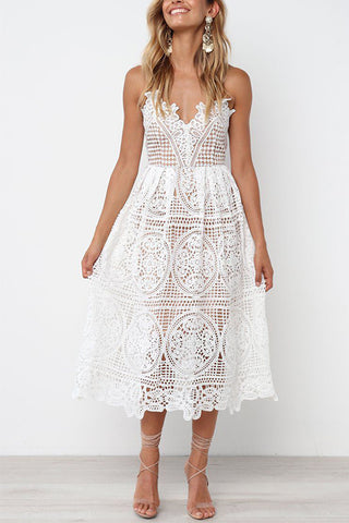 VOKJJ Openwork Lace Temperament Harness Dress - Hellosuitlady
