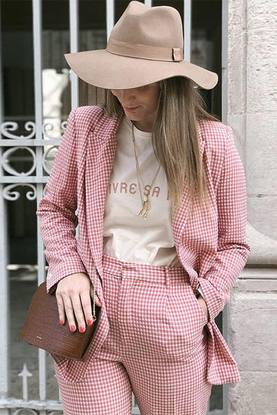 VOKJJ Pink Plaid One Button Suit - Hellosuitlady