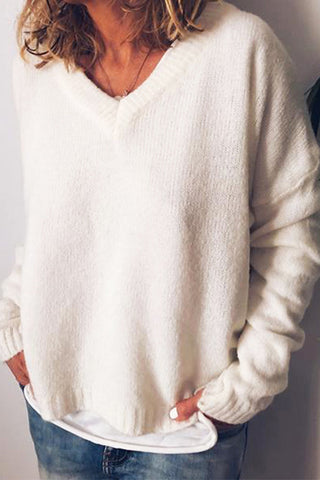 VOKJJ Knit V-neck Pullover Sweater Loose And Warm - Hellosuitlady