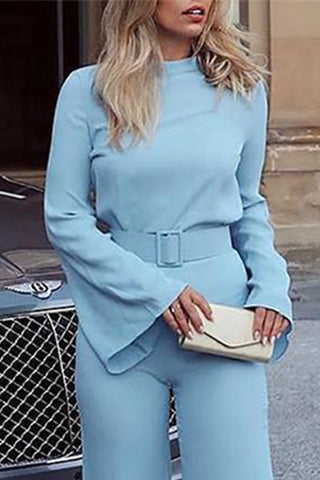 VOKJJ Solid Color Belt Jumpsuit - Hellosuitlady