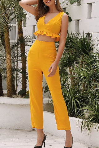 VOKJJ Lotus-edged V-neck High Waist Wide-Legged Pants Suit - Hellosuitlady