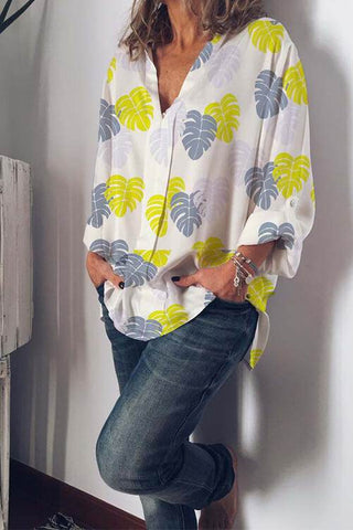 VOKJJ Printed Long Sleeve Shirt - Hellosuitlady