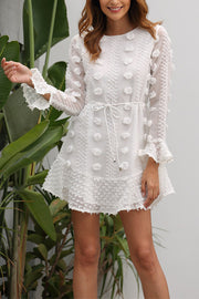 VOKJJ Floral Stitching Lace-Trimmed Long-Sleeved Dress - Hellosuitlady