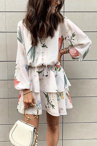 VOKJJ Lace-print Chiffon Long-sleeved Dress - Hellosuitlady