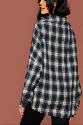 VOKJJ Button Front Tartan Oversized Blouse
