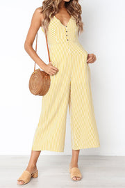 VOKJJ Striped Button Sleeveless Jumpsuit - Hellosuitlady