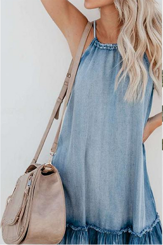 VOKJJ Attractive Denim Halter Plain Ruffled Dress - Hellosuitlady