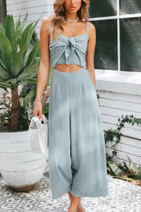Soft Front Knot Fashion Sexy Suspender Zip Backless Jumpsuit