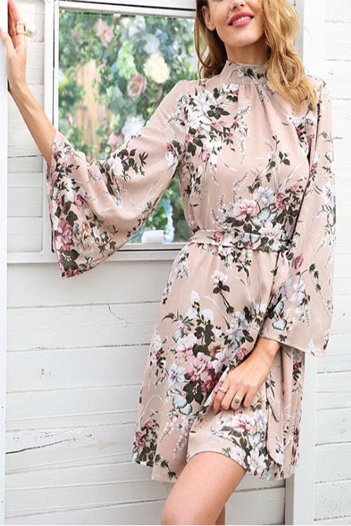 VOKJJ Real Benefit Printed Chiffon Halter Back Flared Sleeves Dress - Hellosuitlady