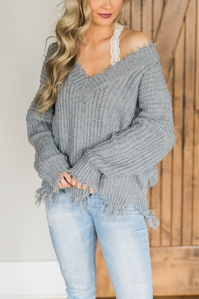 V-Neck Off-The-Shoulder Loose Pullover Sweater