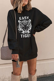 VOKJJ Tiger Head Print High Collar Thick Sweater - Hellosuitlady