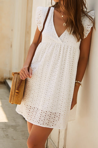 VOKJJ Summer  V-neck Short Sleeve Lace Dress