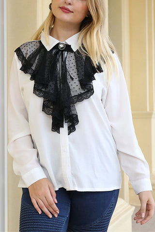 VOKJJ Bow Tie Long Sleeve Lace Stitching White Shirt - Hellosuitlady