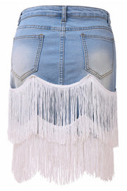 VOKJJ High-waisted Patchwork Irregular Denim Skirt