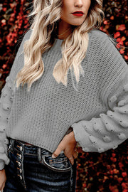 VOKJJ Sleeve Undulating Bubble Short Pullover Sweater - Hellosuitlady