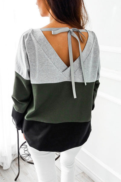 VOKJJ  Lacing Round Neck Long Sleeve Loose Sweater