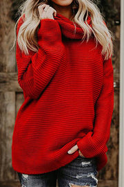 VOKJJ Thick Line Long Sleeve Turtleneck Sweater - Hellosuitlady
