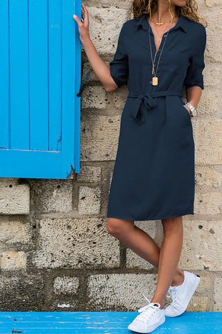 VOKJJ Lapel Solid Color Cropped Sleeve Shirt Dress - Hellosuitlady