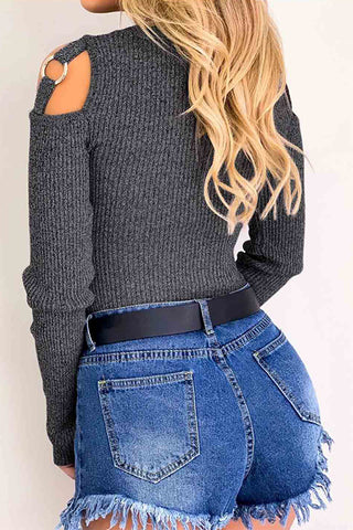 VOKJJ Crew Neck Solid Color Waist Strapless Long Sleeved Shirt - Hellosuitlady