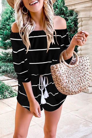 VOKJJ Off The Shoulder Striped Cotton Romper - Hellosuitlady