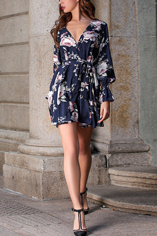 VOKJJ Floral Pattern V-Neck Dress - Hellosuitlady