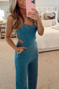 VOKJJ Vitamin Sea Pocketed Denim Cutout Jumpsuit - Hellosuitlady