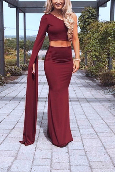 VOKJJ  Off-shoulder Fishtail Slit Dress