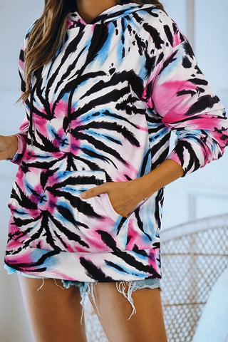 VOKJJ Colorful Tie-dye Hoodie With Drawstring Long Sleeve Casual