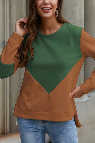VOKJJ Long Sleeve Round Neck Contrast Stitching Top - Hellosuitlady