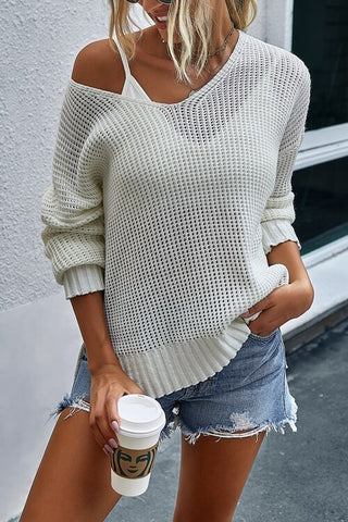 VOKJJ Fashion New Design V-neck Irregular Pullover Sweater