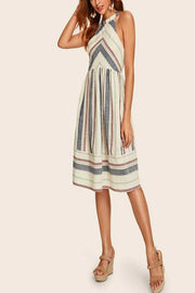 VOKJJ Striped Knee-Length Halter Dress