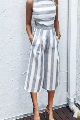 VOKJJ Striped Off The Shoulder Wide Leg Jumpsuits - Hellosuitlady