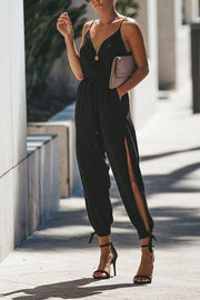 VOKJJ Summer Backless Lanyard Deep V-neck Slip Cotton Jumpsuit
