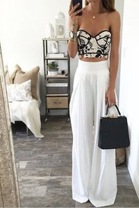 Cheap Casual Solid Color Wide-Leg Pants