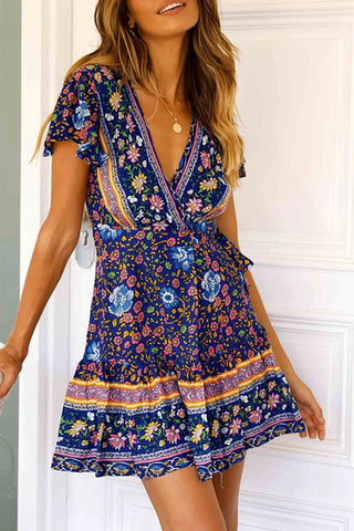 VOKJJ Summer Floral Short Sleeve Deep V-neck Princess Dress