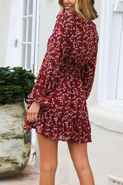 VOKJJ Long-Sleeved Waist Chiffon Print Flared Sleeve Floral Front Button Dress - Hellosuitlady