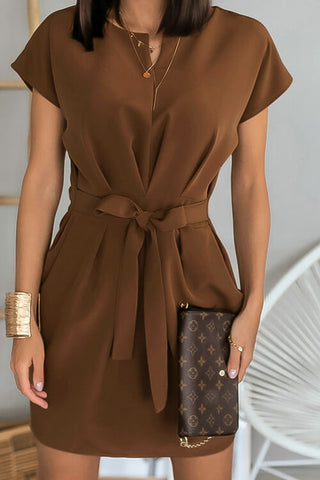 VOKJJ Stylish Round-neck Commuter Belted Dress
