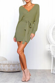 VOKJJ Fashion Sexy V-Neck Long Sleeve Dress