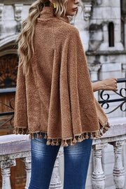VOKJJ Solid Color Fashion Turtleneck Tassel Long Sleeve Sweater