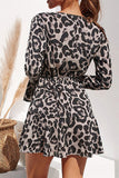 Leopard Print V-neck High Waist Lace Ladies Chiffon Skirt
