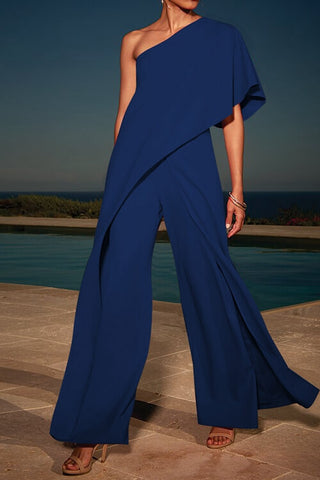 VOKJJ Strapless One-piece Slanted Collar Solid Color High-waisted Wide-legged Pants Jumpsuit