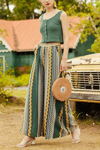 Nine-point wide leg pants simple Bohemian pants