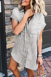 VOKJJ Casual Denim Shirt Dress - Hellosuitlady