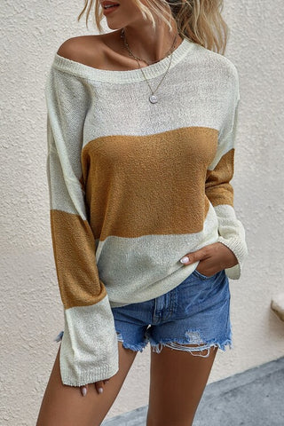 VOKJJ  Fashion Loose Round Neck Long Sleeve Sweater